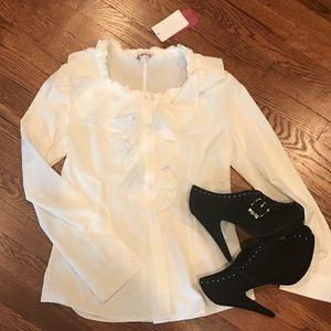 Cream ruffle front blouse chain brand
